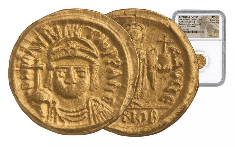 601-602 AD Byzantine Carthage Gold Maurice Tiberius Solidus NGC MS