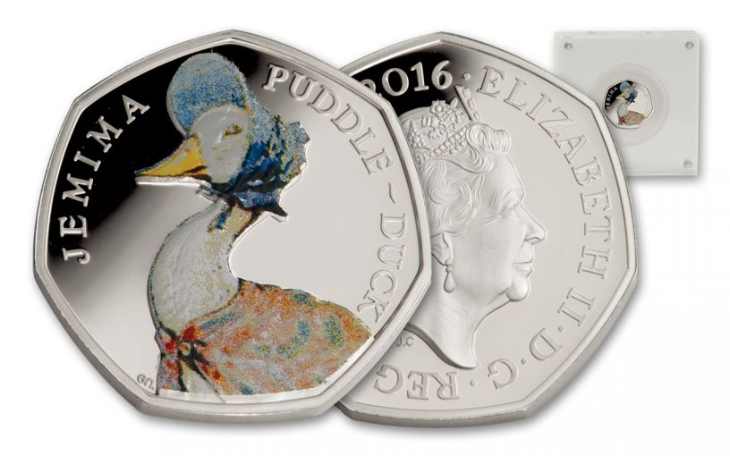 2016 Great Britain 50 Pence Silver Jemima Puddle-Duck Proof
