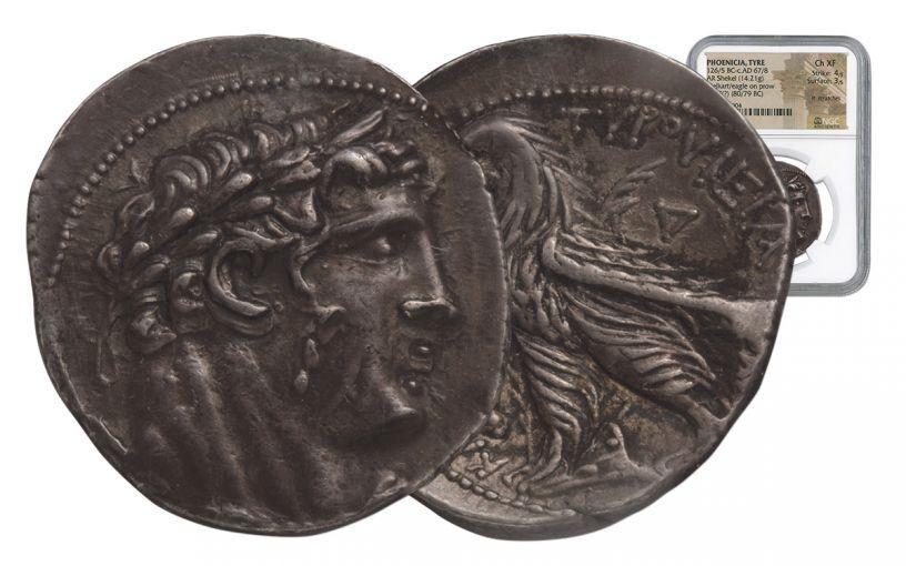 80-79 BC Greek Silver Shekel of Tyre NGC Choice XF
