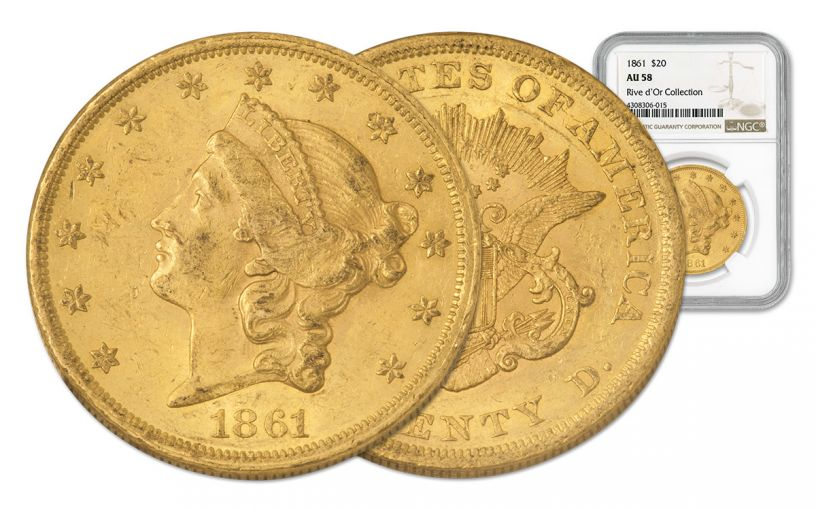 1861-P 20 Dollar Gold Liberty NGC AU58 Rive d'Or