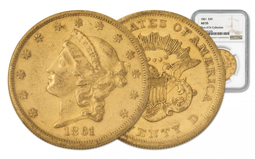 1861-P 20 Dollar Gold Liberty NGC AU55 Rive d'Or