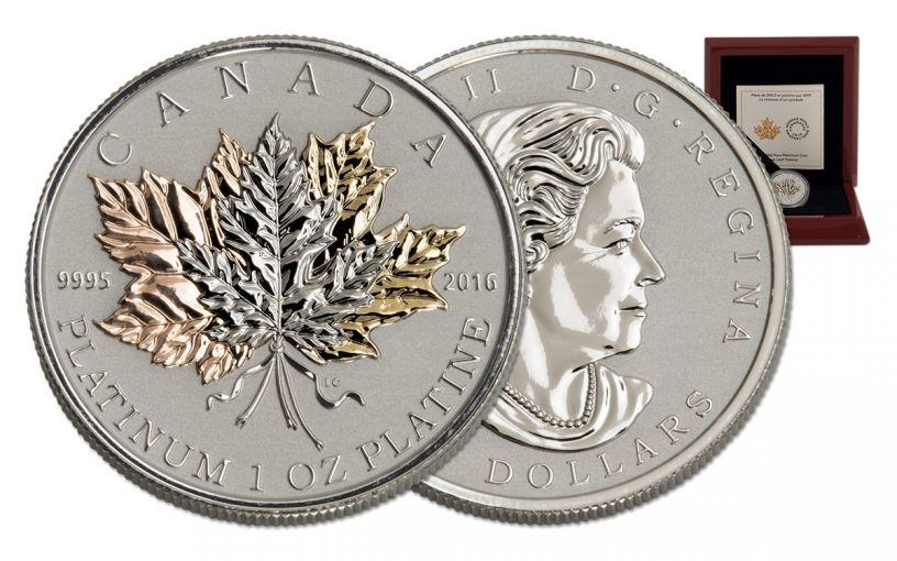 2016 Canada 300 Dollar 1-oz Platinum Maple Leaf Forever Reverse Proof