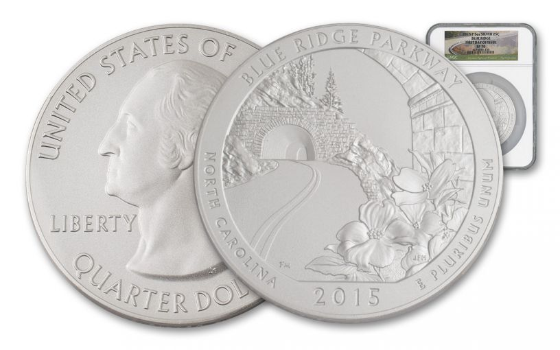 2015 25 Cent 5-oz Silver America the Beautiful Blue Ridge NGC SP70 FDI
