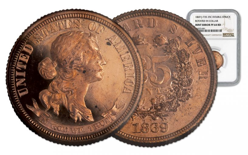 1869 25 Cent Double Struck and Rotated NGC PF64 RD