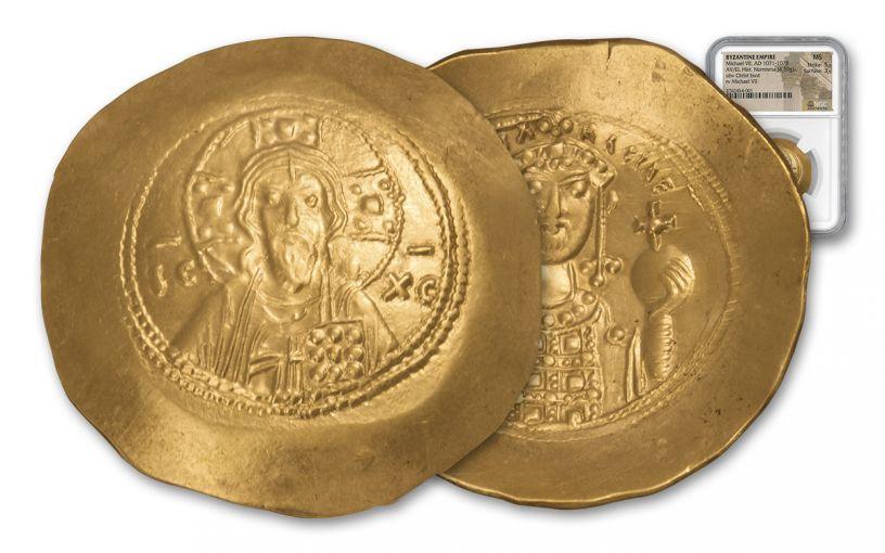 1071-1078 AD Byzantine Electrum Nomisma Michael VII Christ Bust NGC MS