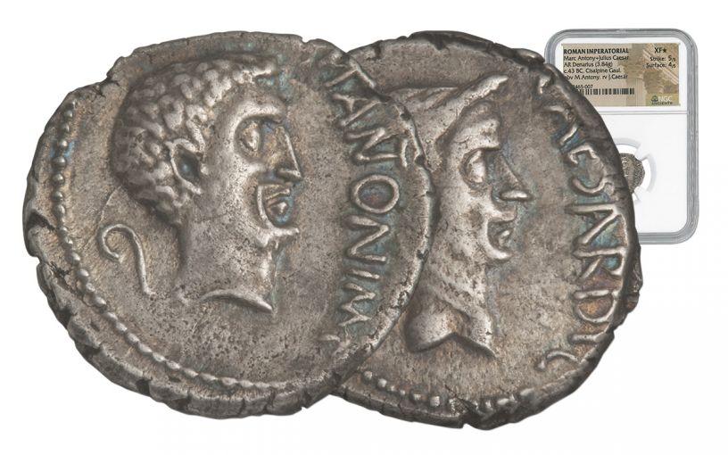 43 BC Roman Silver Denarius of Mark Antony and Julius Caesar NGC XF Star