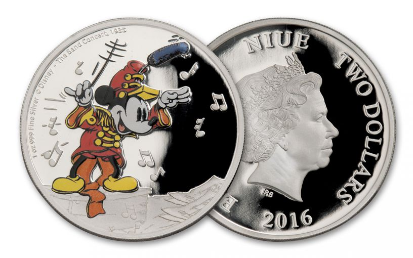 2016 Niue 2 Dollar 1-oz Silver Disney Mickey the Band Concert Proof