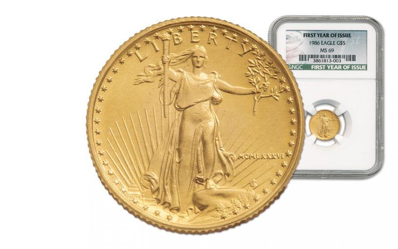 1986 5 Dollar 1/10-oz Gold Eagle NGC MS69
