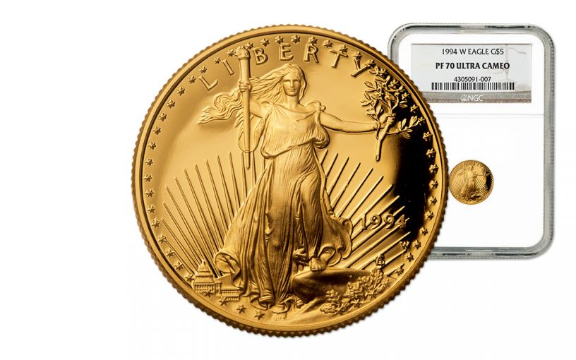 1994 5 Dollar 1/10-oz Gold Eagle Proof NGC PF70