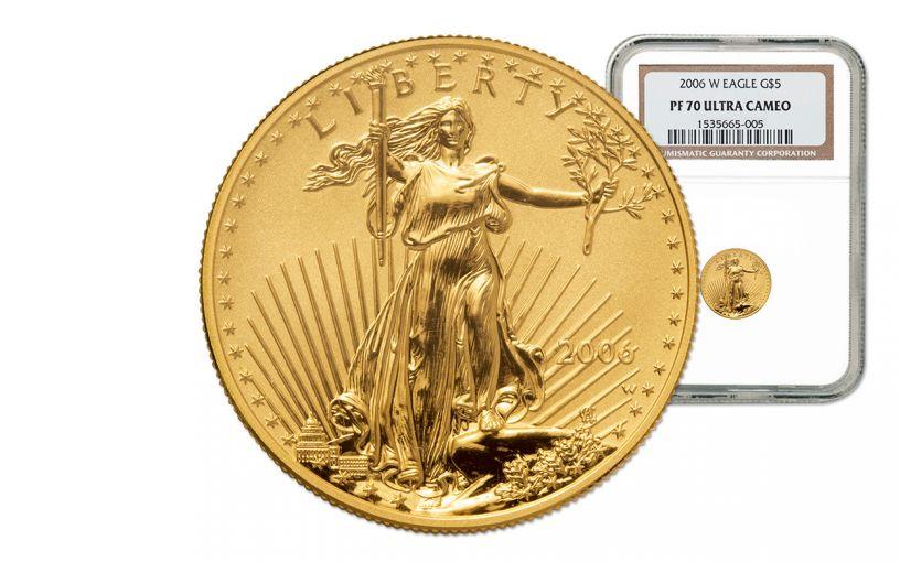 2006 5 Dollar 1/10-oz Gold Eagle Proof NGC PF70