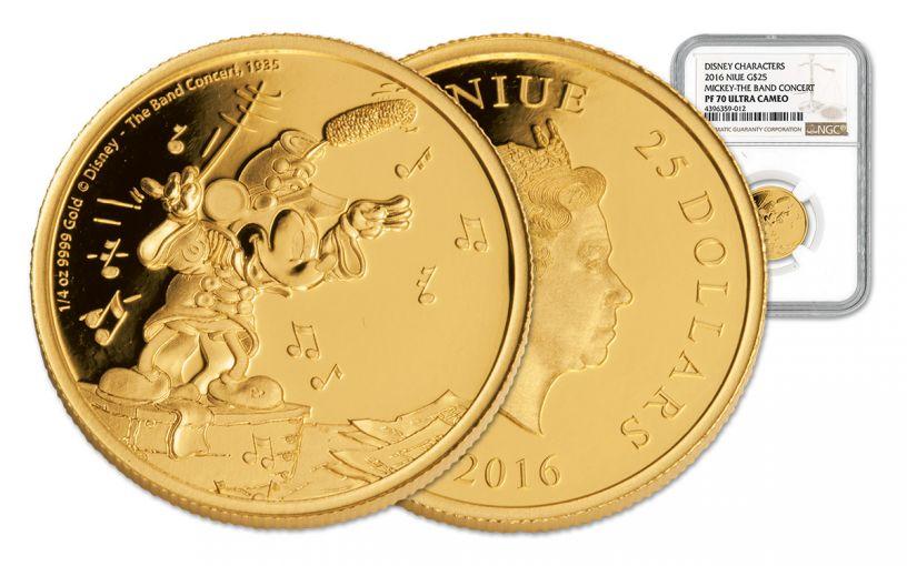 2016 Niue 25 Dollar 1/4-oz Gold Mickey The Band Concert NGC PF70UCAM