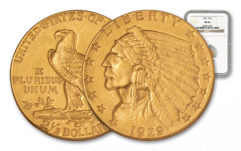 1908-1929 2.50 Dollar Gold Indian NGC/PCGS MS62