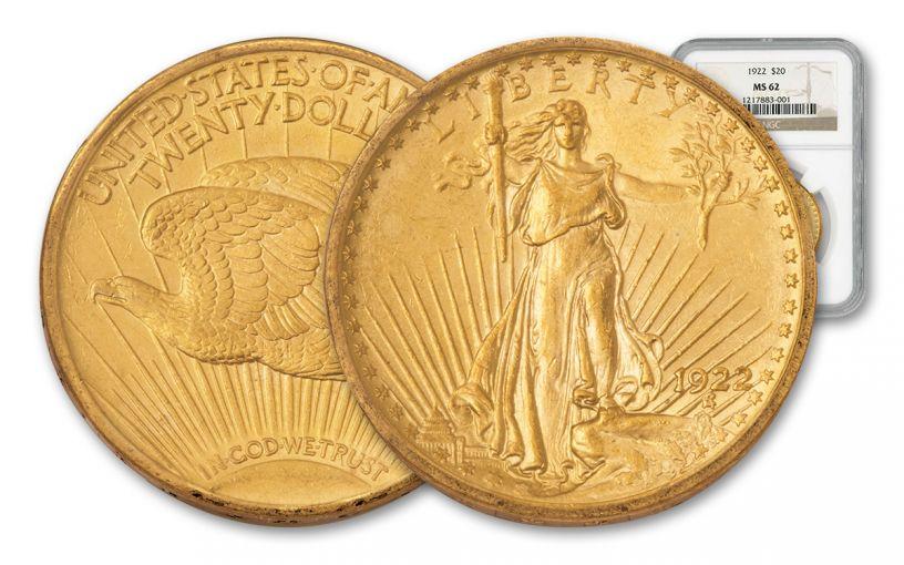 1922 20 Dollar Gold Saint Gaudens NGC MS62