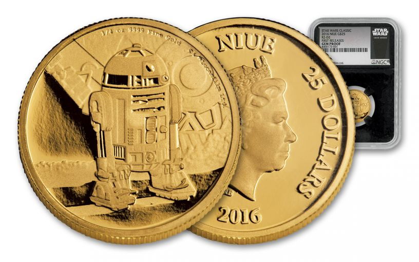 2016 Niue 25 Dollar 1/4-oz Gold Star Wars R2D2 PF69 First Release