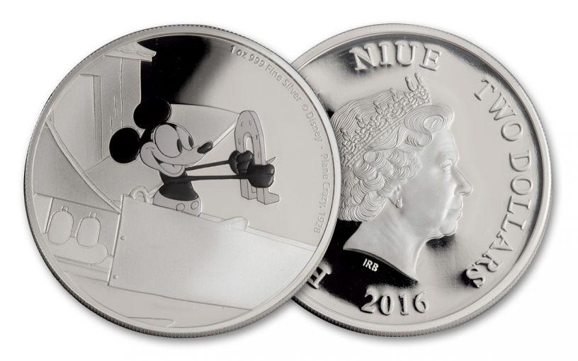 2016 Niue 2 Dollar 1-oz Silver Mickey Plan Crazy Proof
