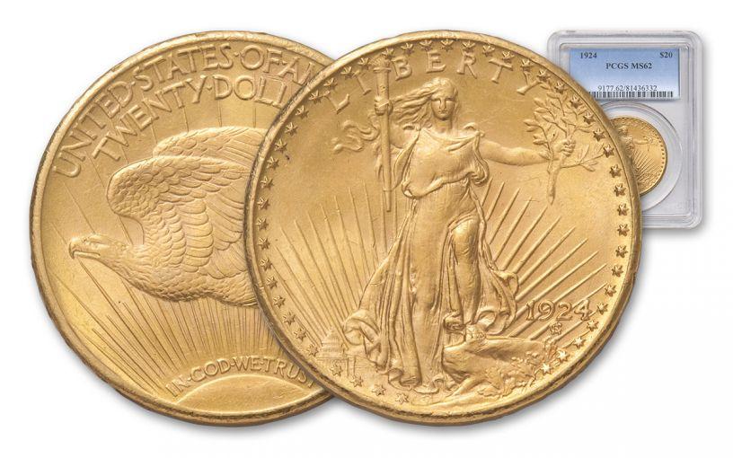 1924 20 Dollar Gold Saint Gaudens PCGS MS62