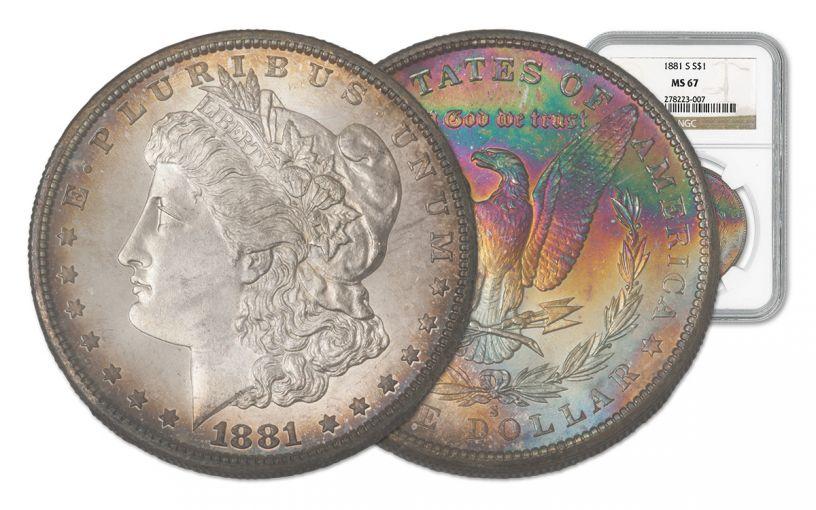 1881-S Morgan Silver Dollar Rainbow Toner NGC MS67