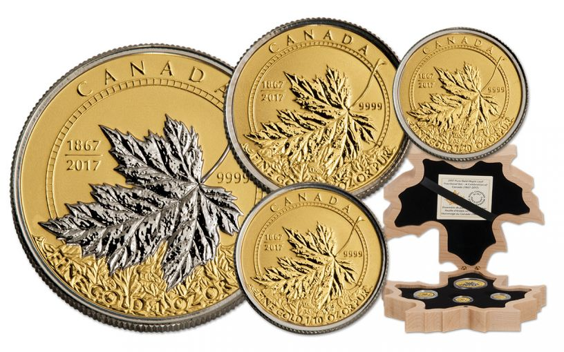 2017 Canada Gold Maple Leaf Fractional Proof 4 Pc Set