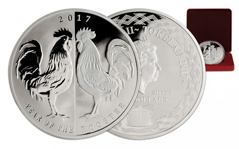 2017 Tokelau 5 Dollar 1-oz Silver Mirror Rooster Proof