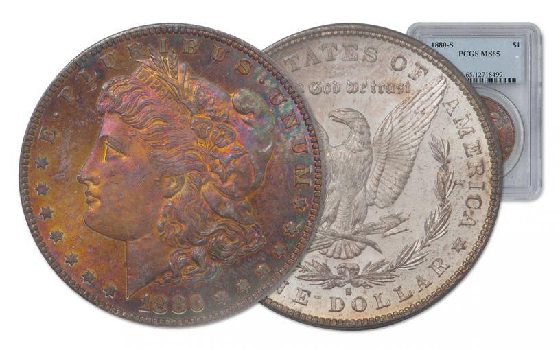 1880-S Morgan Silver Dollar Rainbow Toner PCGS MS65