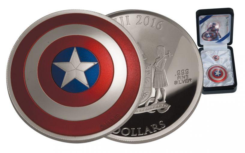 2016 Fiji 2 Dollar 2-oz Silver Captain America Shield Proof