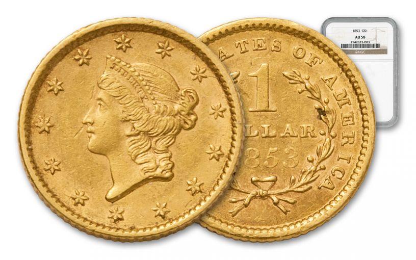 1853 1 Dollar Gold Liberty Type I NGC AU58