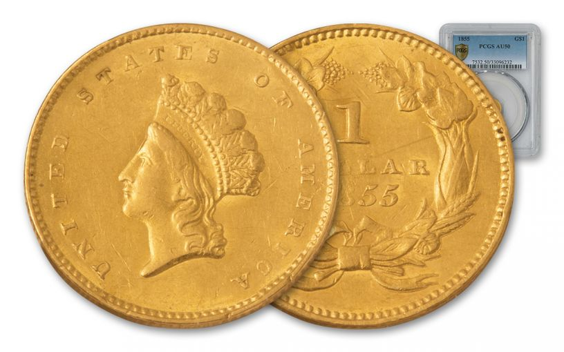 1855 1 Dollar Gold Indian Princess Type 2 PCGS AU50