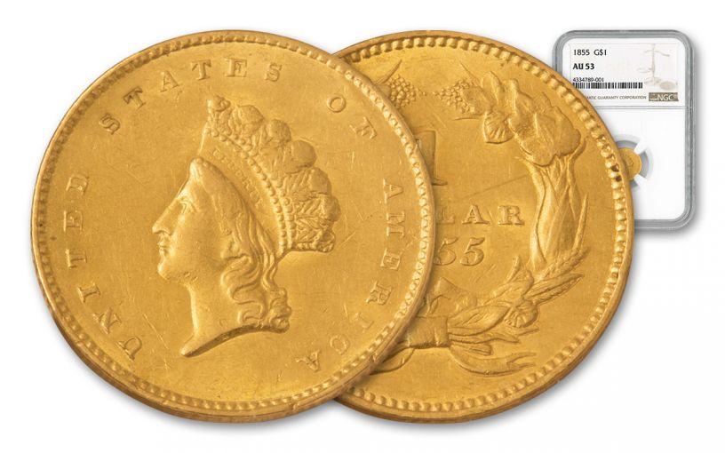1855 1 Dollar Gold Indian Princess Type 2 NGC AU53