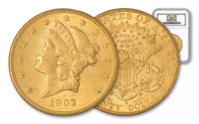 1903-S 20 Dollar Gold Liberty Type 3 NGC MS62