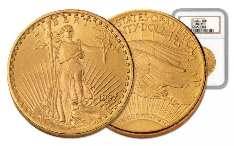 1927 20 Dollar Gold Saint Gaudens NGC MS64 w/Motto