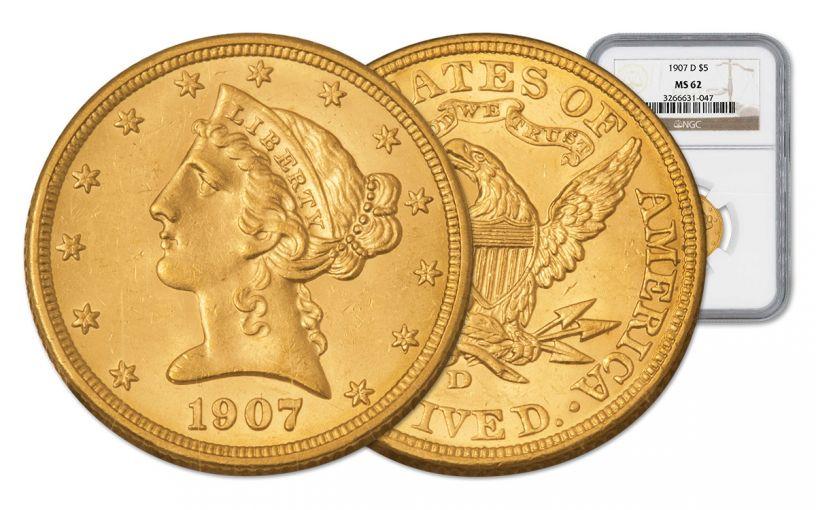 1907-D 5 Dollar Gold Liberty NGC MS62 w/Motto
