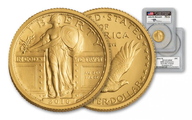 2016-W 1/4-oz Gold Standing Liberty Quarter PCGS SP69 FDI Mercanti Signed