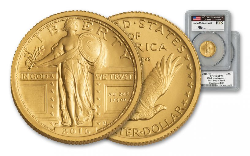 2016-W 25 Cent 1/4-oz Gold Standing Liberty PCGS SP70 FDI Mercanti Signed