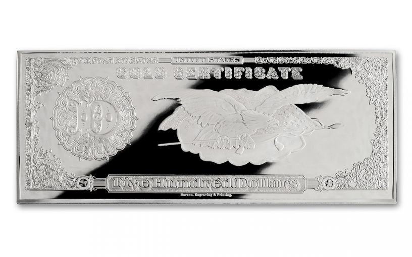 1922 500 Dollar 4-oz Silver Lincoln Gold Treasury Currency Gem Proof