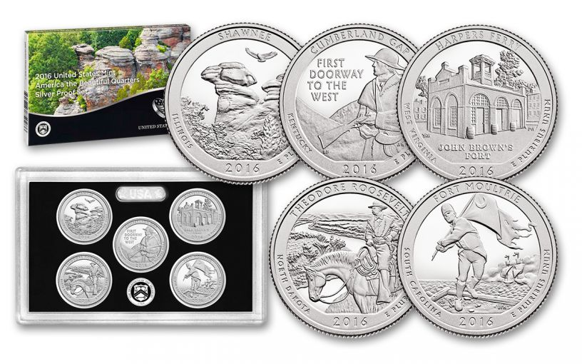 2016 America the Beautiful Quarters Silver 5 Pc Proof Set