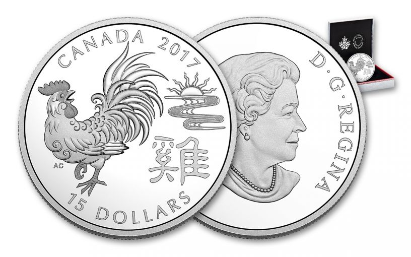 2017 Canada 15 Dollar 1-oz Silver Year of the Rooster Proof