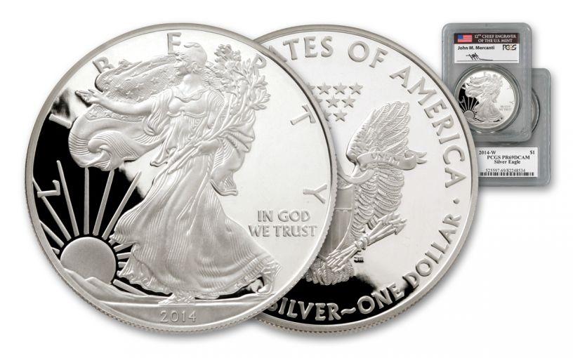 2014-W 1 Dollar 1-oz Silver Eagle PCGS PR69DCAM Mercanti Signed