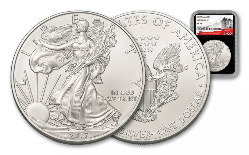 2017 1 Dollar 1-oz Silver Eagle NGC MS70 First Releases 225th Anniversary Black Core