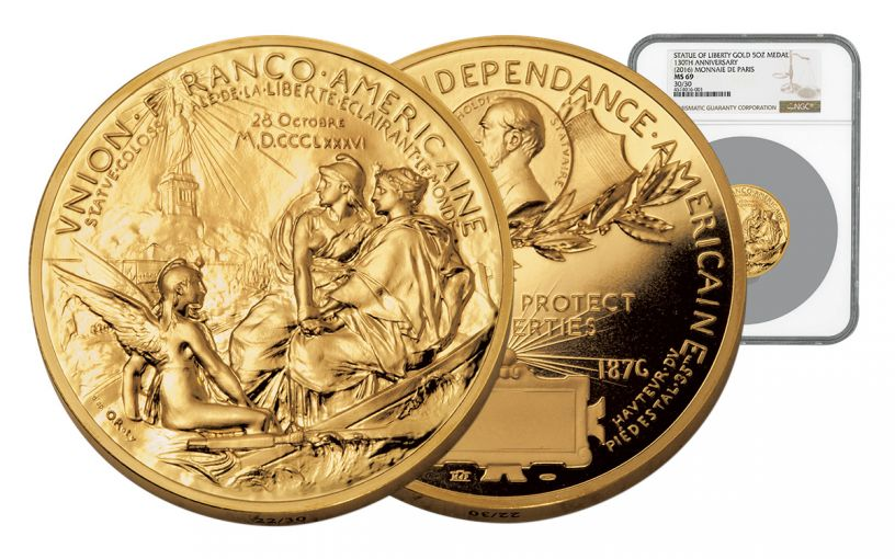 France 5-oz Gold Statue of Liberty Medal NGC MS69