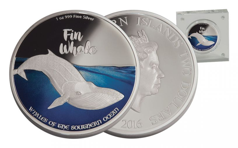 2017 Niue 2 Dollar 1-oz Silver Whales of the Southern Ocean - Fin Proof