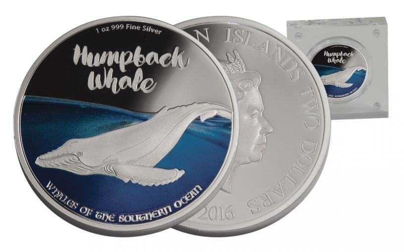 2017 Niue 2 Dollar 1-oz Silver Whales of the Southern Ocean - Humpback Proof