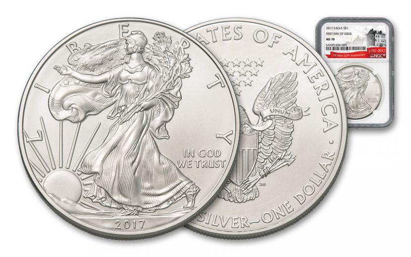 2017 1 1-oz silver eagle NGC MS70 FDI 225th Anniversary