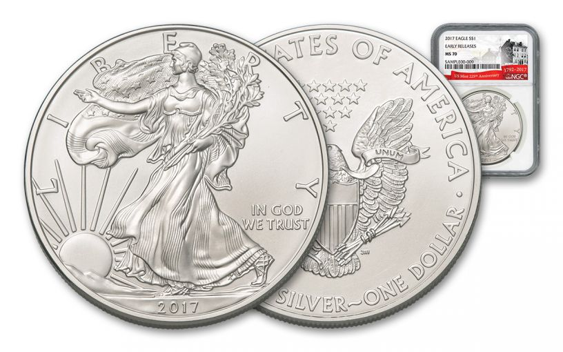 2017 1 Dollar 1-oz Silver Eagle NGC MS70 Early Release 225th Anniversary