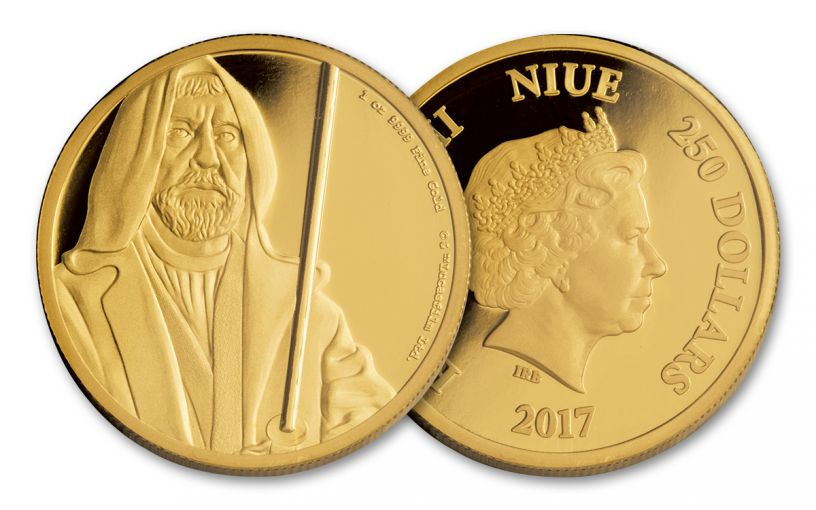 2017 Niue 250 Dollar 1-oz Gold Star Wars Classic Obi-Wan Kenobi Proof