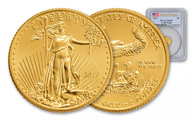 2017 5 Dollar 1/10-oz Gold Eagle PCGS MS69 First Strike