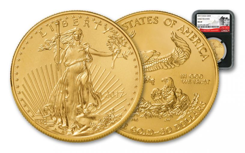 2017 50 Dollar 1-oz Gold Eagle NGC MS69 Early Release 225th Anniversary - Black