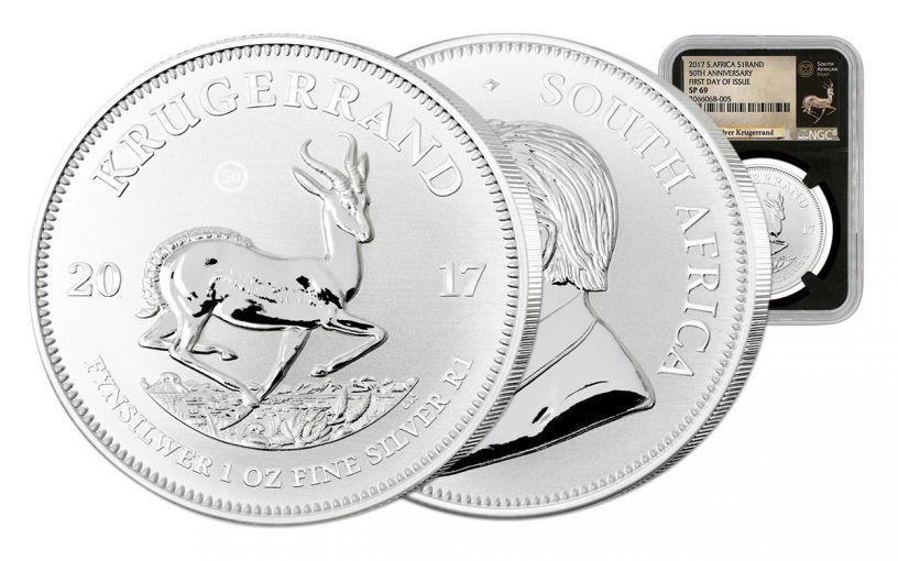 2017 South Africa Silver Krugerrand NGC SP69 FDI - Black