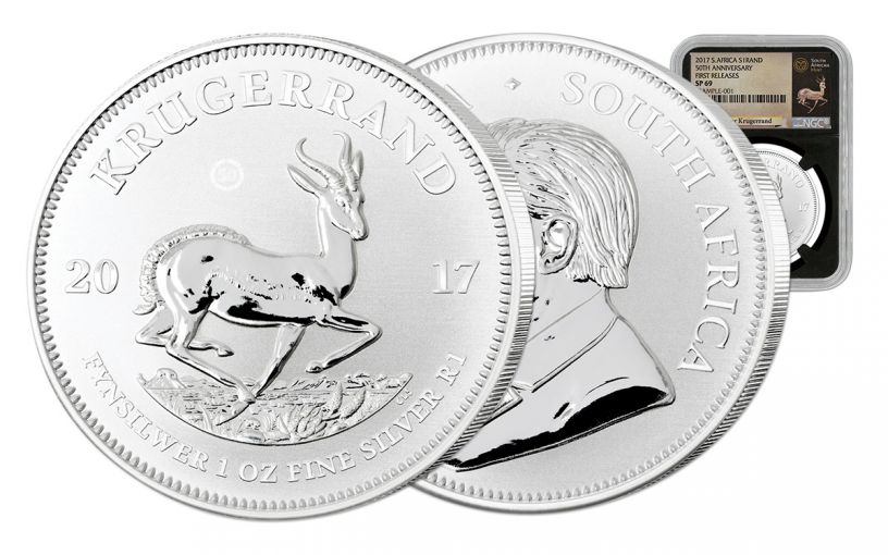 2017 South Africa Silver Krugerrand NGC SP69 First Releases - Black