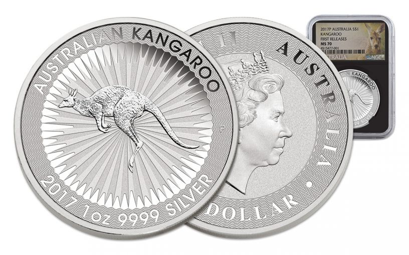 2017 Australia 1 Dollar 1-oz Silver Kangaroo NGC MS70 First Releases - Black