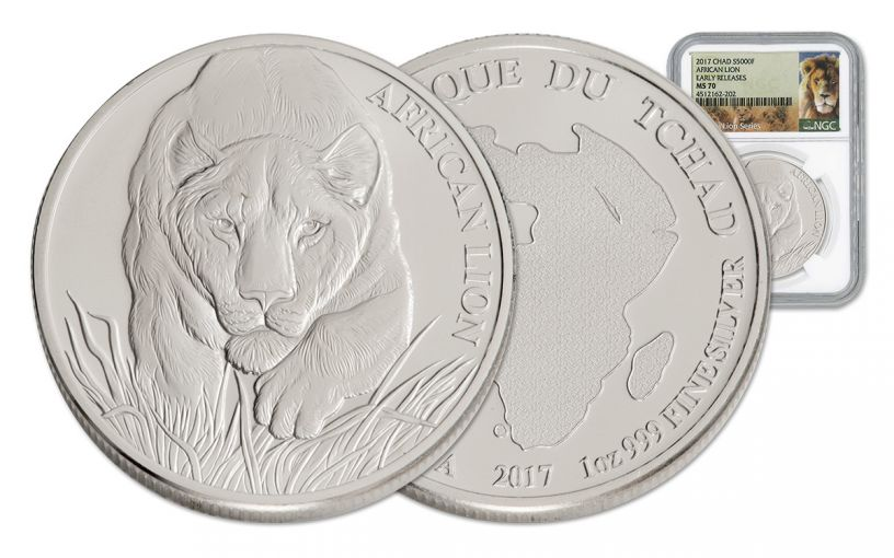 2017 Chad 5000 Franc 1-oz Silver Lion NGC MS70 Early Release
